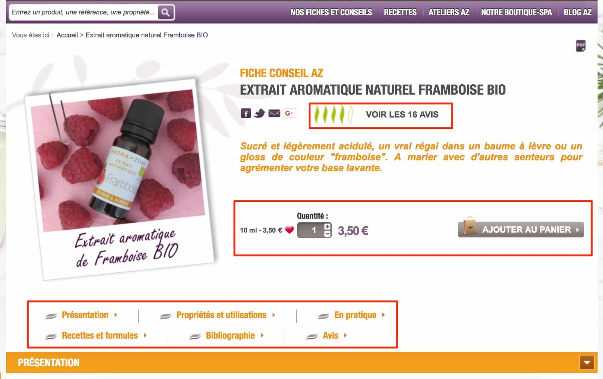 Un exemple de page produit optimisée pour le référencement naturel